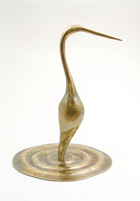 Handcrafted Brass Heron, Sculpture by Metalsmith Steve Shelby